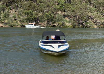 A Custom made Andys Bimini installed and the boat is on the river in NSW